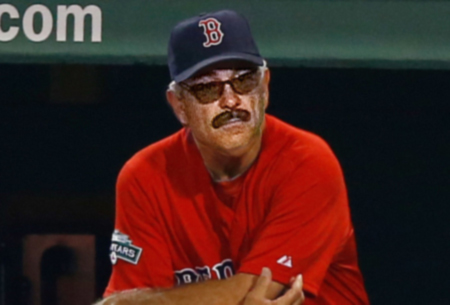 Embarrassed Valentine Now Wearing Fake Mustache Disguise With Red Sox